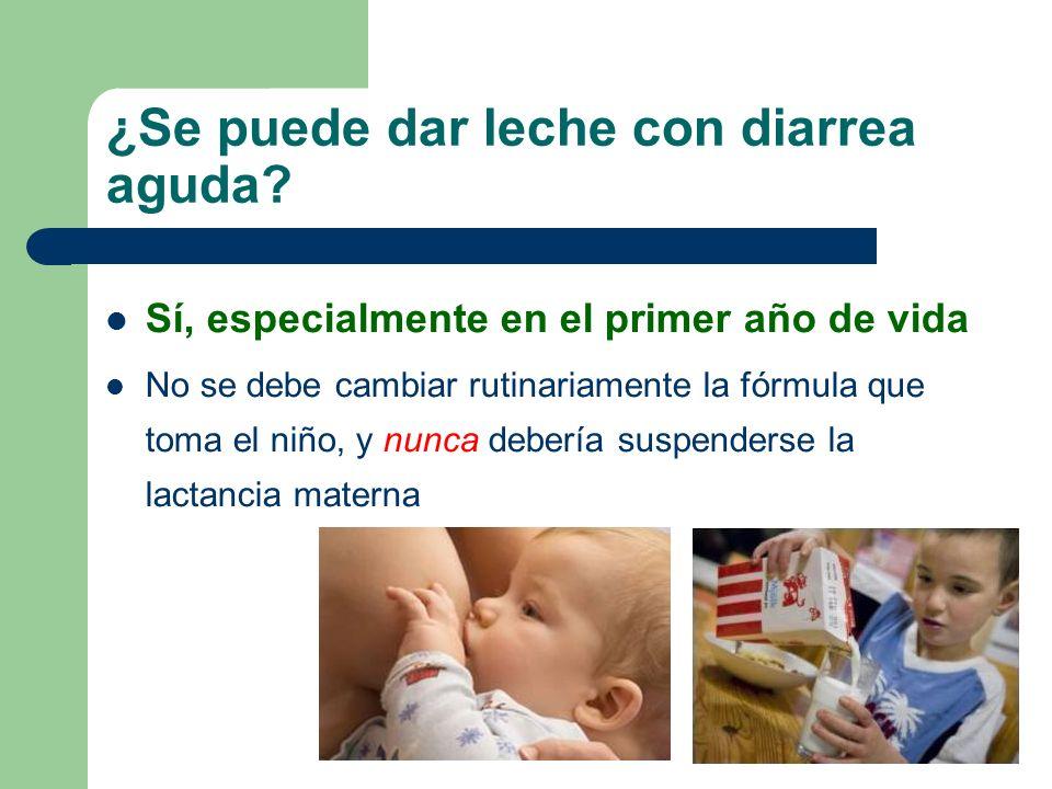 EDA y lactancia materna Ventajas de continuar la lactancia materna durante la diarrea: – Menor frecuencia de evacuaciones – Menor duración – Menores requerimientos hídricos – Menor riesgo de depleción de volumen