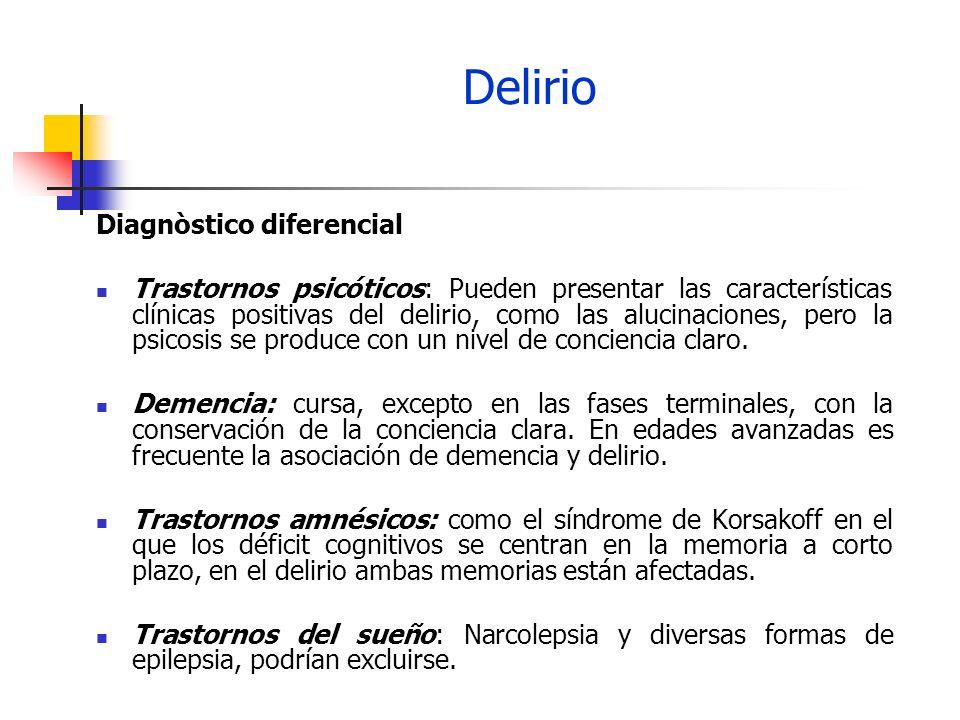 Delirio Tratamiento 1.Identificar y resolver, cuando sea posible las razones del delirio.