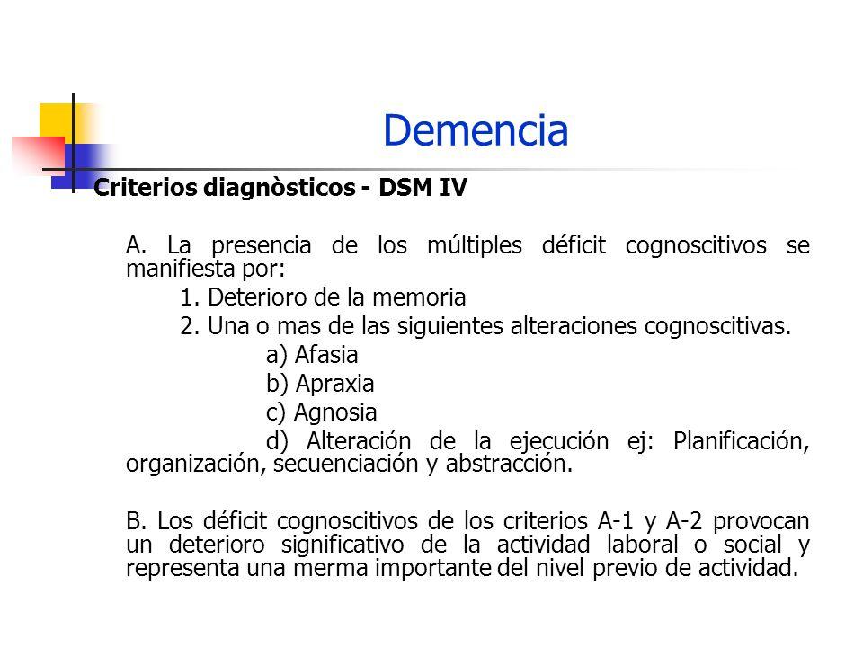 Demencia Criterios diagnòsticos – DSM IV C.