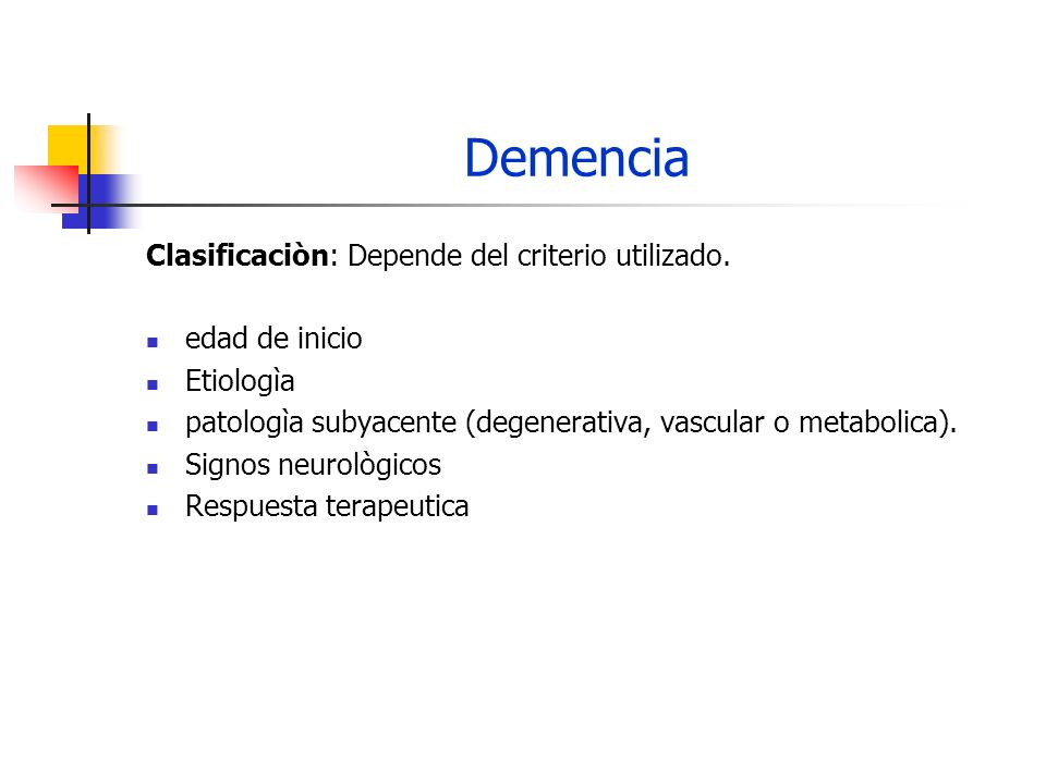 Demencia Clasificaciòn Clìnica - Joynt y Shoulson: I.
