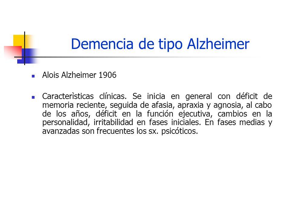 Demencia de tipo Alzheimer Mecanismos de la E.A.Placas seniles y ovillos neurofibrilares.