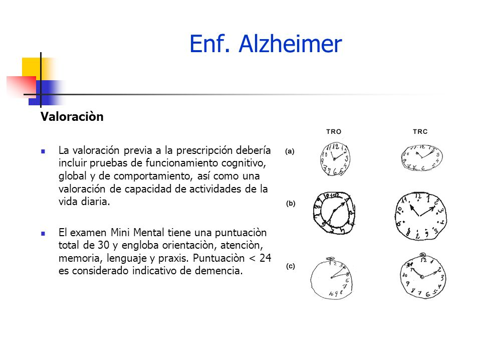 Enf.Alzheimer Valoraciòn Valoraciones semestrales.