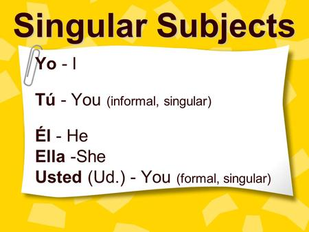 Singular Subjects Yo - I Tú - You (informal, singular) Él - He Ella -She Usted (Ud.) - You (formal, singular)