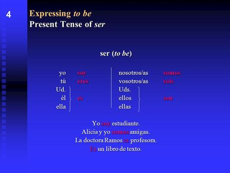 Present Tense of ser Expressing to be Present Tense of ser ser (to be) yosoynosotros/assomos túeresvosotros/assois Ud.Uds. élesellosson ellaellas Yo soy.
