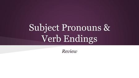 Subject Pronouns & Verb Endings Review. Subject Pronouns Yo = I Tu = you El, Ella, Ud. = He, She, You (formal) Nosotros = We Ellos, Uds. = They, Y'all/you.