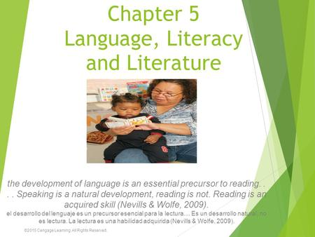 Chapter 5 Language, Literacy and Literature the development of language is an essential precursor to reading.... Speaking is a natural development, reading.