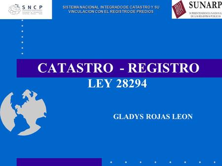 CATASTRO - REGISTRO LEY 28294