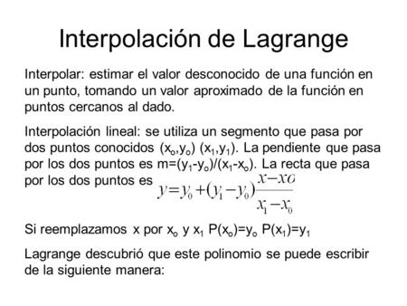 Interpolación de Lagrange
