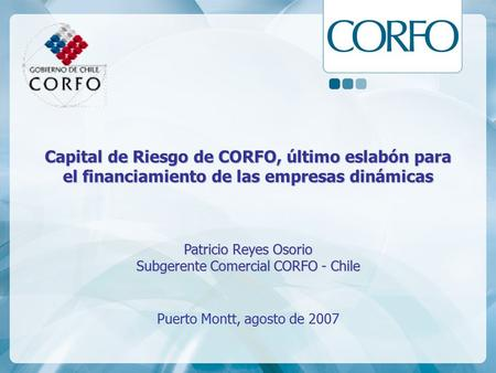 Subgerente Comercial CORFO - Chile