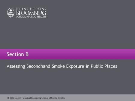  2007 Johns Hopkins Bloomberg School of Public Health Section B Assessing Secondhand Smoke Exposure in Public Places.