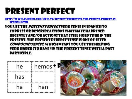 Present Perfect he hemos has ha han