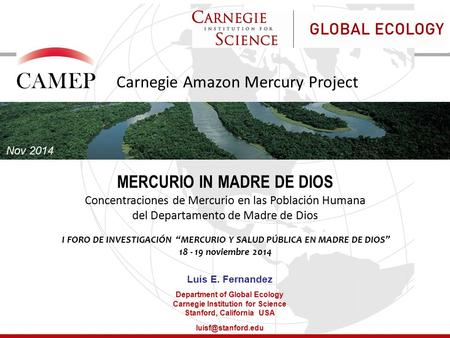 CAMEP Carnegie Amazon Mercury Project MERCURIO IN MADRE DE DIOS