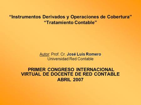 PRIMER CONGRESO INTERNACIONAL VIRTUAL DE DOCENTE DE RED CONTABLE