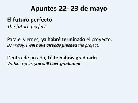Apuntes 22- 23 de mayo El futuro perfecto The future perfect Para el viernes, ya habré terminado el proyecto. By Friday, I will have already finished the.