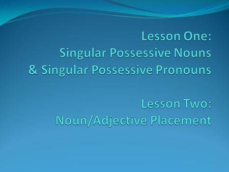 Singular Possessive Nouns & Singular Possessive Pronouns.