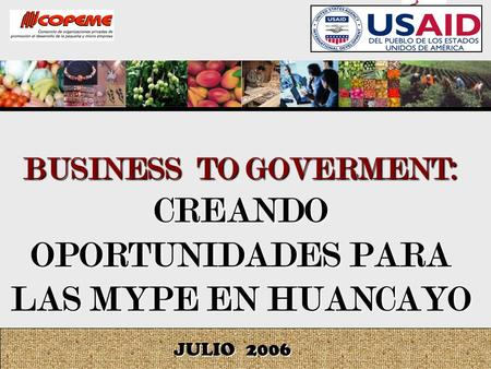 BUSINESS TO GOVERMENT: CREANDO OPORTUNIDADES PARA LAS MYPE EN HUANCAYO JULIO 2006.