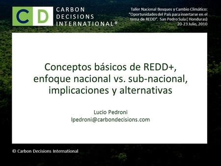Conceptos básicos de REDD+, enfoque nacional vs. sub-nacional, implicaciones y alternativas Lucio Pedroni CARBON DECISIONS.