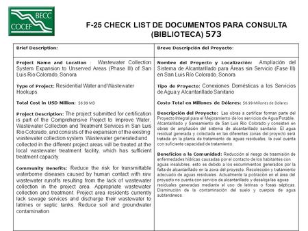 F-25 CHECK LIST DE DOCUMENTOS PARA CONSULTA (BIBLIOTECA) 573 Brief Description:Breve Descripción del Proyecto: Project Name and Location : Wastewater Collection.