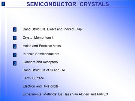SEMICONDUCTOR CRYSTALS Band Structure, Direct and Indirect Gap Crystal Momentum k Holes and Effective Mass Intrinsic Semiconductors Donnors and Acceptors.