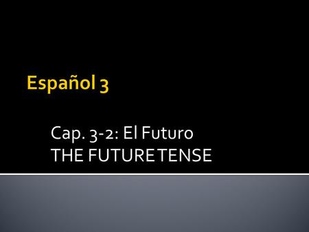 Cap. 3-2: El Futuro THE FUTURE TENSE.  The Future tense is very easy to form.  The same set of endings is applied to all verbs (-ar, -er, -ir).  The.