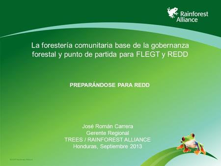 ©2009 Rainforest Alliance PREPARÁNDOSE PARA REDD José Román Carrera Gerente Regional TREES / RAINFOREST ALLIANCE Honduras, Septiembre 2013 La forestería.