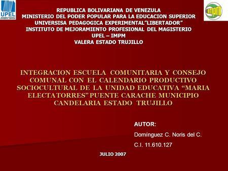 Republica bolivariana de venezuela universidad pedagogica for Educacion para poder