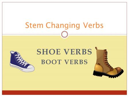 SHOE VERBS BOOT VERBS Stem Changing Verbs. What is the stem of a verb? guardar meter vivir empezar perder querer preferir guard__ met __ viv__ empez__.
