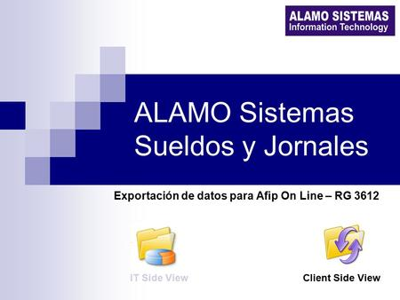 ALAMO Sistemas Sueldos y Jornales Exportación de datos para Afip On Line – RG 3612 IT Side ViewClient Side View.