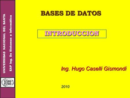 BASES DE DATOS INTRODUCCION