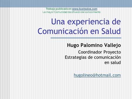 1 comunicaci n en salud resumiendo percepciones hugo for Oficina virtual mppe