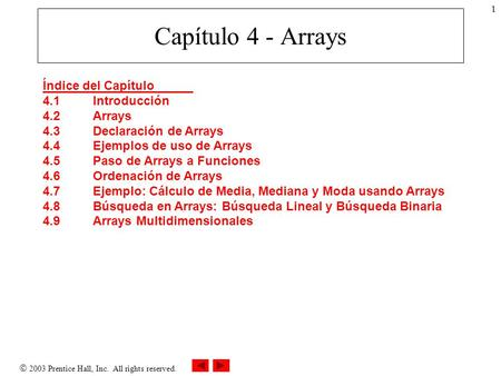  2003 Prentice Hall, Inc. All rights reserved. 1 Capítulo 4 - Arrays Índice del Capítulo 4.1Introducción 4.2Arrays 4.3Declaración de Arrays 4.4Ejemplos.