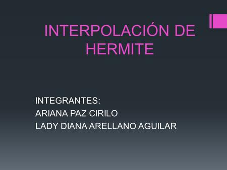INTERPOLACIÓN DE HERMITE