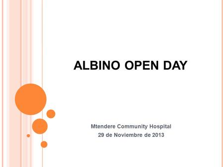 ALBINO OPEN DAY Mtendere Community Hospital 29 de Noviembre de 2013.
