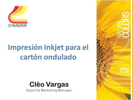 Clêo Vargas Export & Marketing Manager Impresión Inkjet para el cartón ondulado.