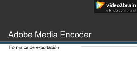 Adobe Media Encoder Formatos de exportación. Vídeo y animación Gif animado (solo Windows) FLV, F4V H.264 (AAC, 3GP, MP4, M4V, MPA (audio), AMR (audio),