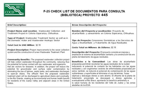 F-25 CHECK LIST DE DOCUMENTOS PARA CONSULTA (BIBLIOTECA) PROYECTO 445 Brief Description:Breve Descripción del Proyecto: Project Name and Location : Wastewater.
