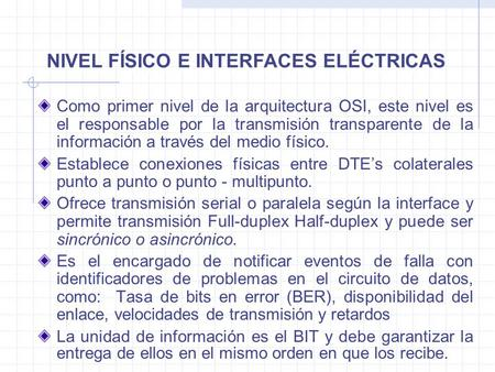 NIVEL FÍSICO E INTERFACES ELÉCTRICAS