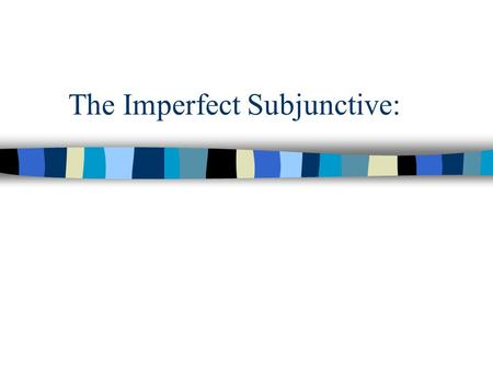 The Imperfect Subjunctive:. The 3 steps in conjugating it. ¶ Take the third person plural form of the preterite tense. · Drop the -ron. ¸ Add the following.