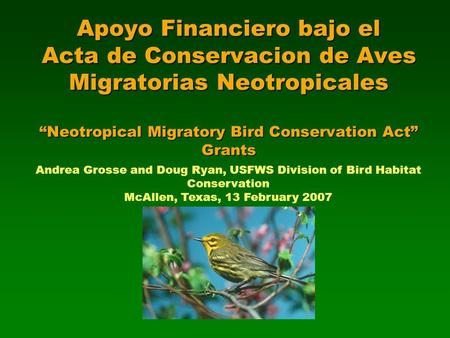 "Apoyo Financiero bajo el Acta de Conservacion de Aves Migratorias Neotropicales ""Neotropical Migratory Bird Conservation Act"" Grants Andrea Grosse and."
