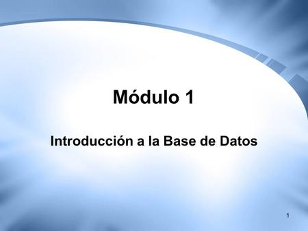 Introducción a la Base de Datos