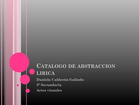 Catalogo de abstraccion lirica