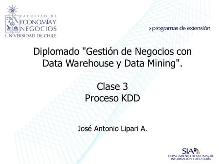 Diplomado Gestión de Negocios con Data Warehouse y Data Mining.