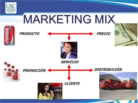 MARKETING MIX SERVICIO PRODUCTOPRECIO PROMOCIÓN DISTRIBUCIÓN CLIENTE.