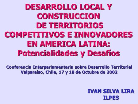 DESARROLLO LOCAL Y CONSTRUCCION