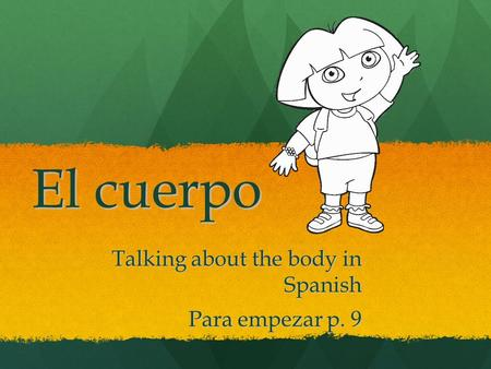 El cuerpo Talking about the body in Spanish Para empezar p. 9.