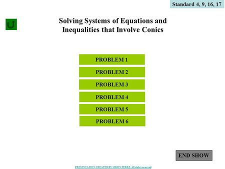 1 Solving Systems of Equations and Inequalities that Involve Conics PROBLEM 4 PROBLEM 1 Standard 4, 9, 16, 17 PROBLEM 3 PROBLEM 2 PROBLEM 5 END SHOW PROBLEM.