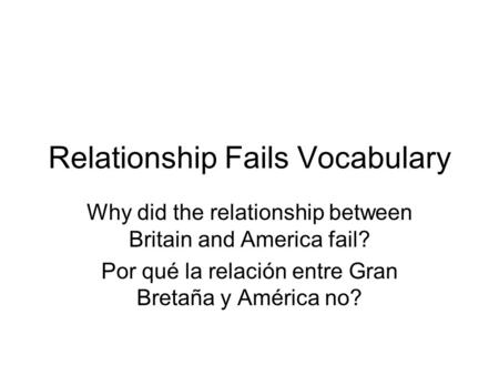 Relationship Fails Vocabulary
