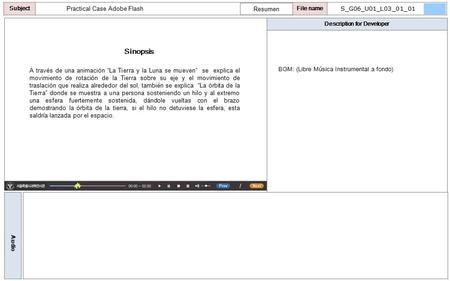 "Description for Developer Audio SubjectLO File name Practical Case Adobe Flash Sinopsis Resumen A través de una animación ""La Tierra y la Luna se mueven"""