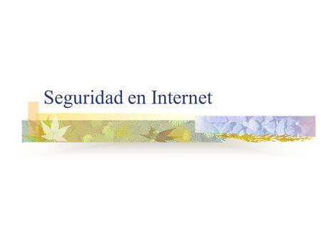Seguridad en Internet.