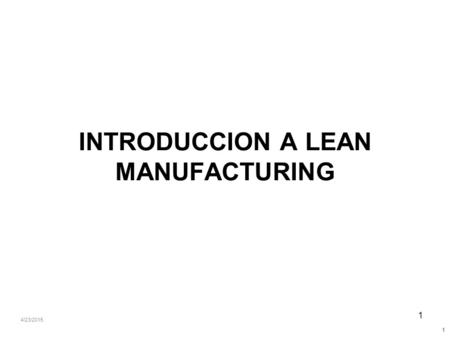 INTRODUCCION A LEAN MANUFACTURING